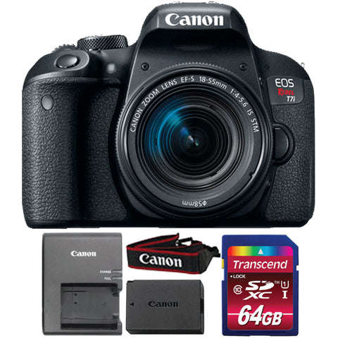 Canon EOS Rebel T7i 24.2MP DSLR Camera with 18-55mm Lens and 64GB Memory Card