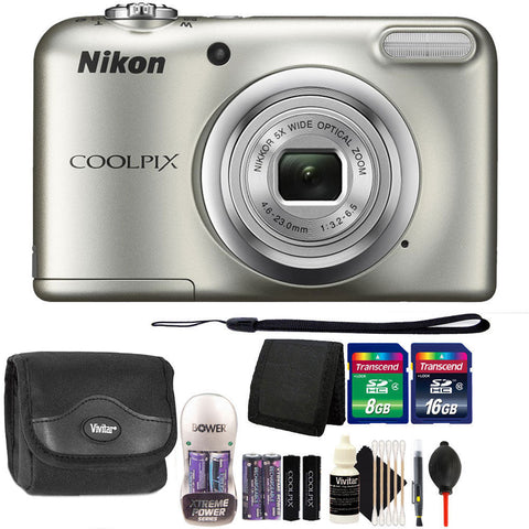 Nikon COOLPIX A10 16.1MP Compact Digital Camera Silver with Accessory Kit