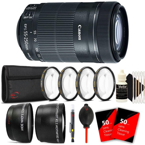 Canon EF-S 55-250mm f/4-5.6 IS STM Lens with Accessory Kit for Canon SLR Cameras