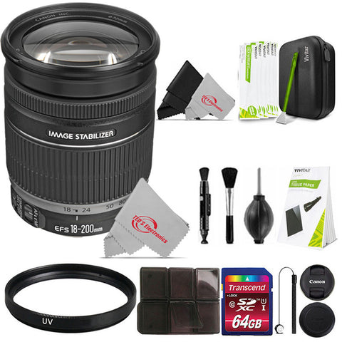 Canon EF-S 18-200mm f/3.5-5.6 IS Standard Zoom Lens + Essential Acccessory Kit