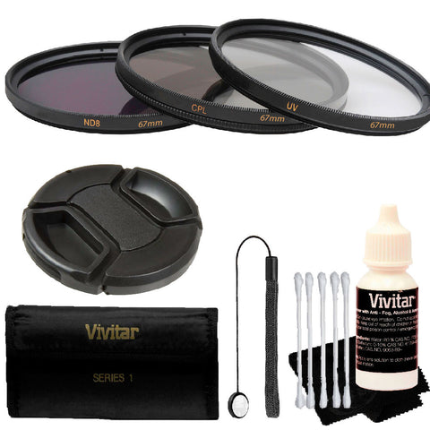 Vivitar 67mm 3Pc UV/CPL/ND8 Filter Kit + Top Accessory Kit for All 67mm Lenses Kit for Canon 18-135, Nikon 18-140, and Nikon 18-105 Lenses