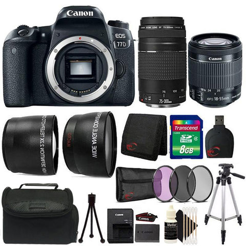 Canon EOS Rebel 77D 24.2MP DSLR Camera 18-55mm IS STM + EF 75-300mm Lenses Double Lens Bundle