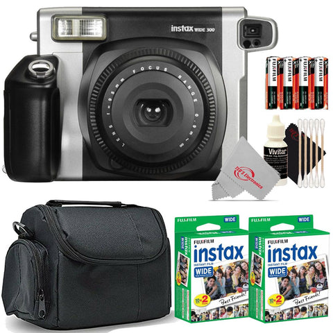 FUJIFILM INSTAX Wide 300 Instant Film Camera (Black) with 2 Pack Fujifilm Instax WIDE 2X10 Film Kit