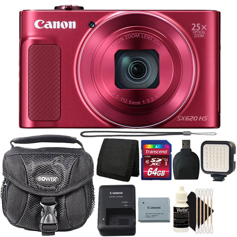 Canon PowerShot SX620 HS 20.2MP Digital Camera Red with LED Video Light and Accessory Bundle