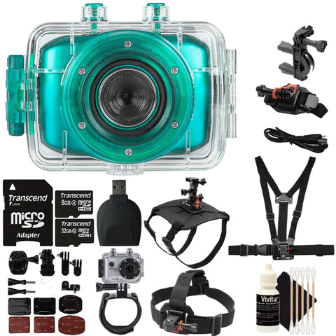 Vivitar DVR781HD 720P HD Waterproof Action Video Camera Camcorder Kit Teal