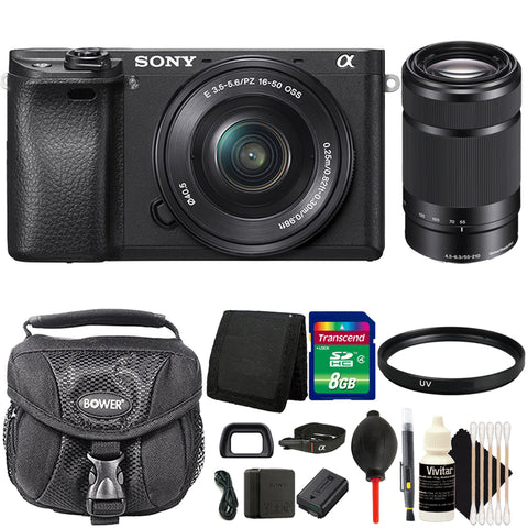 Sony Alpha a6300 4K HD Wi-Fi Mirrorless Digital Camera with 16-50mm and 55-210mm Lenses Bundle