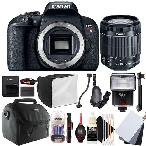 Canon EOS Rebel T7i 24.2MP DSLR Camera with 18-55mm Lens , Slave Flash and Accessory Bundle