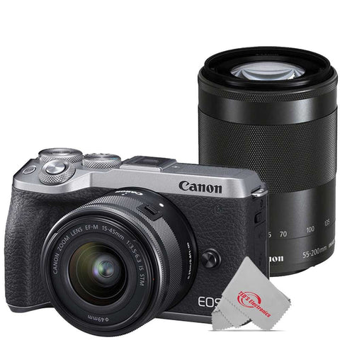 Canon EOS M6 Mark II 32.5MP Mirrorless Digital Camera Silver with 15-45mm Lens + EF-M 55-200mm IS STM Lens