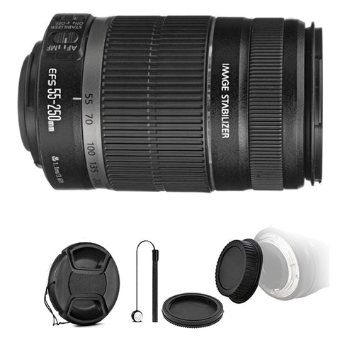 Canon EF-S 55-250mm f/4-5.6 IS II Autofocus Lens with Accessory Kit for Canon 77D , 80D , 760D and 1300D