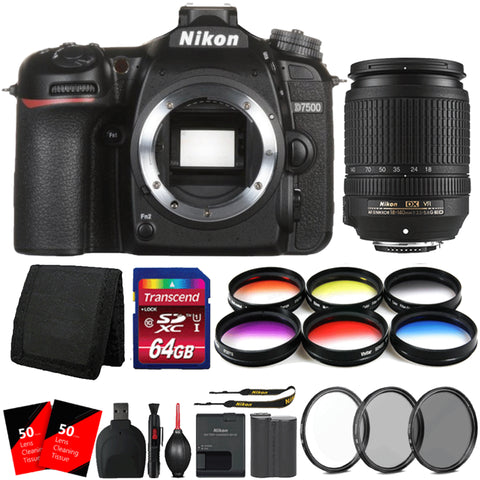 Nikon D7500 DSLR Camera with 18-140mm Lens and 64GB Deluxe Accessory Kit