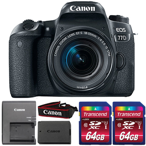 Canon EOS 77D DSLR Camera with 18-55mm IS STM Lens and Two 64GB Memory Cards