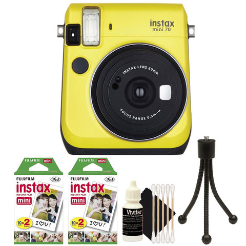 Fujifilm Instax Mini 70 Instant Film Camera Yellow with Accessory Bundle