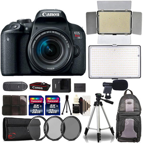 Canon EOS Rebel T7i DSLR Camera with 18-55mm Lens , 600 LED Light , 288 Led Light and Accessory Kit