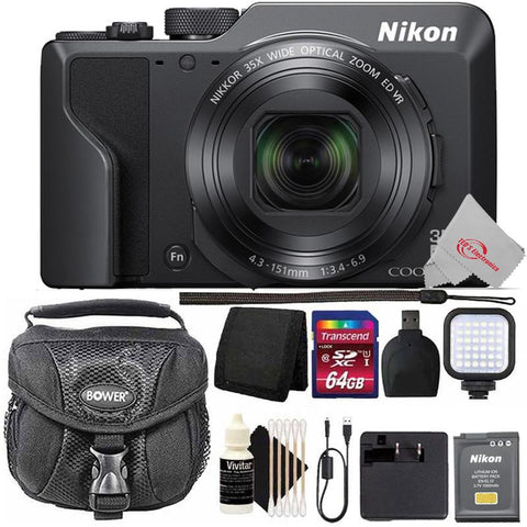 Nikon COOLPIX A1000 Digital Camera Bluetooth with Built-In Wi-Fi  and 64GB Accessory Kit
