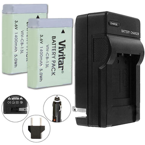 VIVITAR VIV-QCB-217 Battery Charger + Two NB-13L Replacement Battery for Canon NB-13L Battery (for Canon G5 X, G7 X, G7 X Mark II, G9 X, G9X Mark II, SX720 HS)