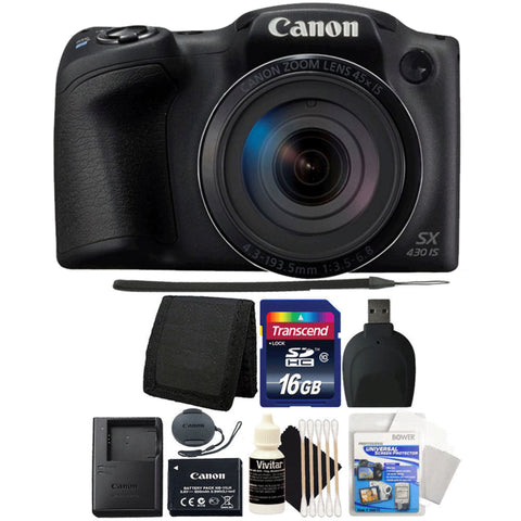 Canon PowerShot SX430 IS 20MP Digital Camera Black with Accessory Bundle