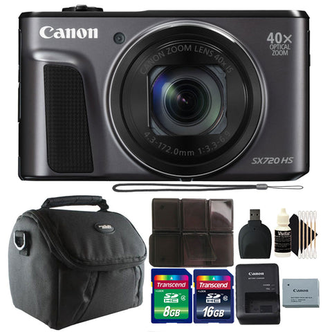 Canon PowerShot SX720 20.3MP Digital Camera Black with Accessories