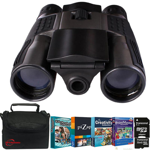 Vivitar VIV-CV-1225V 8MP 2-in-1 Binoculars and Digital Camera Black  + 32GB MicroSD Card + Photo Editing Software Bundle + Case