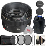 Canon EF 50mm f/1.4 to f/22 USM EF-Mount Lens/Full-Frame Format Lens Accessory Kit & Pouch