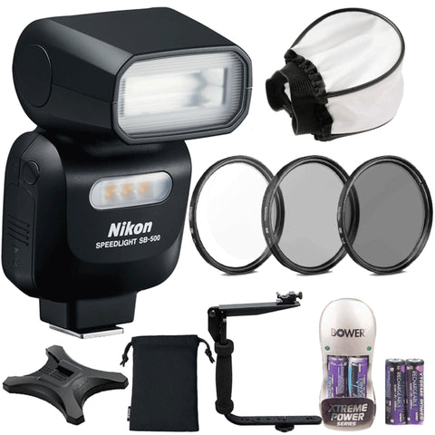Nikon SB-500 AF Speedlight Flash with Top Value Kit for Nikon D5600, D7100 and D7200