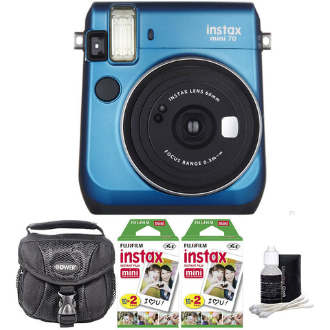 Fujifilm Instax Mini 70 Instant Film Camera Blue with Accessory Kit