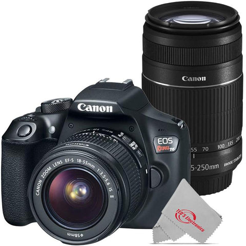 Canon EOS Rebel T6 18MP Digital SLR Camera with 18-55mm and Canon 55-250 IS II Lens