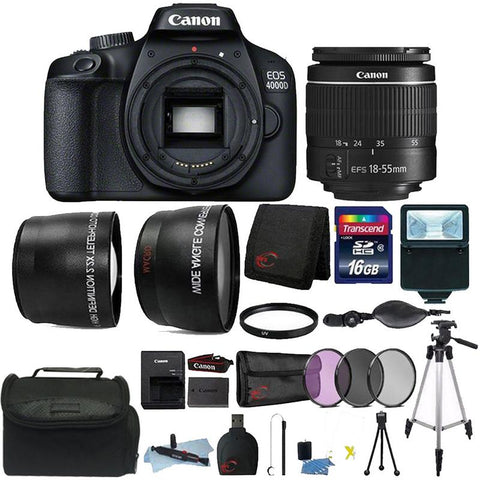 Canon EOS 4000D 18MP Digital SLR Camera + 18-55mm Lens + 16GB Top Accessory Kit