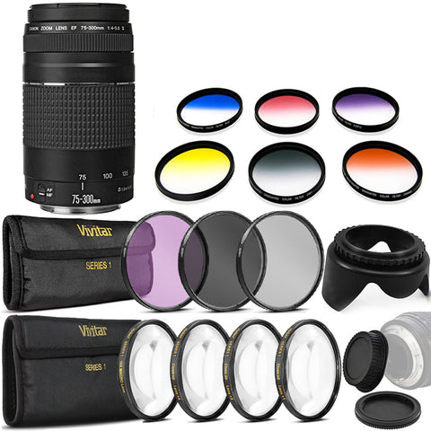 Canon EF 75-300mm f/4-5.6 III Lens with Accessory Kit For Canon 750D , 760D and 1300D
