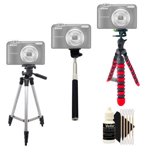 Tall Tripod , Flexible Tripod , Monopod and 3pc Cleaning Kit For Canon Cameras