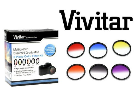 Vivitar 6 Piece 67mm Graduated Color Filter Set with Case