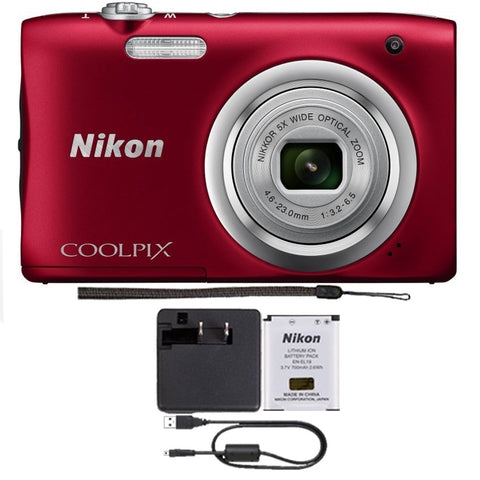 Nikon Coolpix A100 20.1MP Compact Digital Camera Red