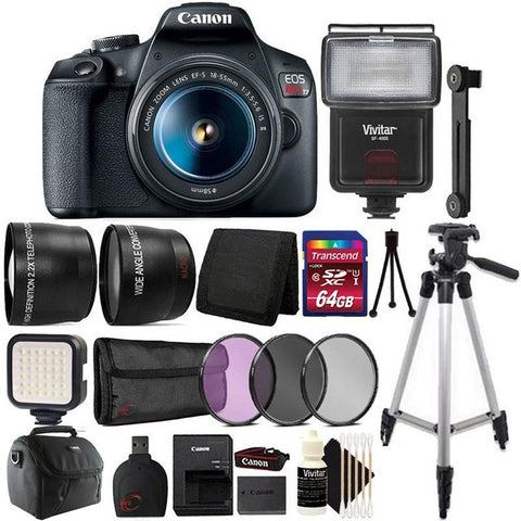 Canon EOS Rebel T7 DSLR Camera + 18-55mm Lens + 58mm Filter Kit + Telephoto + Wide Angle Lens + 64GB Memory Card + Wallet + Reader + Compact Light + Flash + Case + Tall Tripod + CleaningKit + Mini Tripod