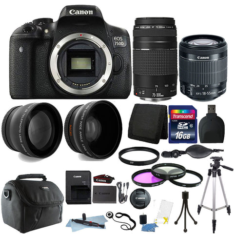 Canon EOS Rebel 750D / T6i 24.2MP Digital SLR Camera with EF-S 18-55mm IS STM Lens , EF 75-300mm III Lens and Accessory Bundle