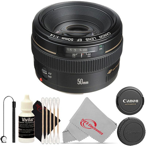 Canon EF 50mm f/1.4 to f/22 USM EF-Mount Lens/Full-Frame Format Lens with Cap Holder and Cleaning Kit