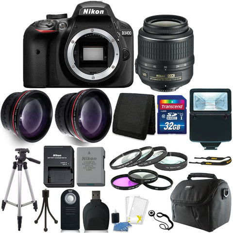 Nikon D3400 Digital SLR Camera with 18-55mm Lens and 14 piece Accessory Kit