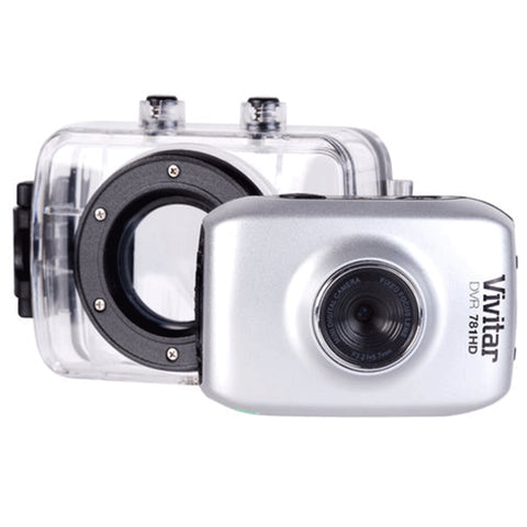 Vivitar DVR781HD HD Waterproof Action Video Camera Camcorder Silver with Accessory Bundle