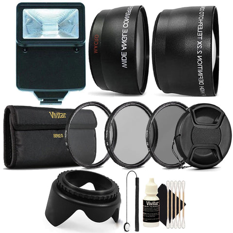 52MM Complete Professional Lens Accessory Kit with Slave Flash