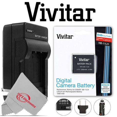 VIVITAR VIV-CB-11LH Li-On Battery and Battery Charger for Canon NB-11L/NB-11LH (Canon Powershot SX410 IS, SX400 IS, ELPH 170 IS, 340 HS 320)
