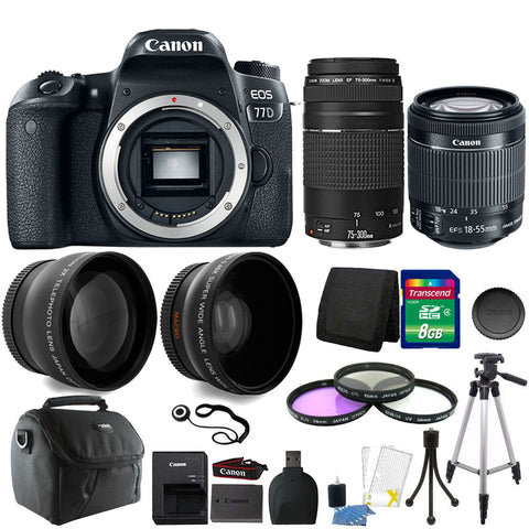 Canon EOS 77D 24.2MP DSLR Camera with 18-55mm IS STM Lens , 75-300mm Lens and Accessories
