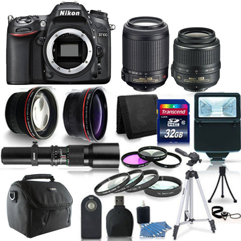Nikon D7100 DSLR Camera Body + 18-55mm + 55-200mm Lens + 500mm lens + t-mount + 52mm Telephoto and Wide Angle Lens + Macro Kit + Filter Kit + 32GB Memory Card + Wallet + Reader + Remote Control + Slave Flash + Lens Cap Holder + Gadget Bag + 3pc Cleaning K