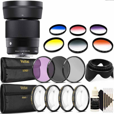 Sigma 30mm f/1.4 DC DN Contemporary Lens for Sony E with Complete Filter Bundle