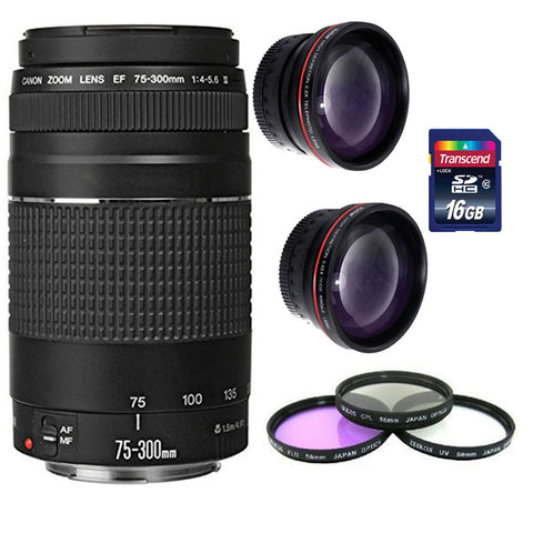 Canon Zoom Telephoto EF 75-300mm f/4.0-5.6 III Lens  + 16GB Accessory Kit