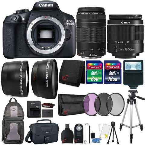 Canon EOS 1300D 18MP DSLR Camera with 18-55mm Lens , 75-300mm Lens , Canon 100ES Case and 24GB Ultimate Accessory Bundle