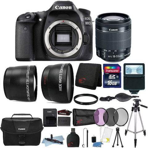 Canon EOS 80D 24.2MP DSLR Camera with 18-55mm Lens , Canon 100ES Case and 16GB Ultimate Accessory Kit