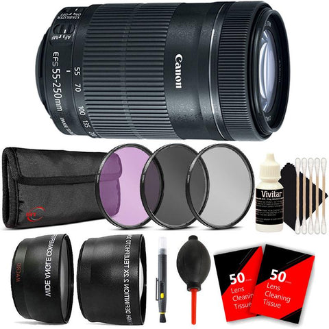 Canon EF-S 55-250mm f/4-5.6 IS STM Lens with Accessory Kit for Canon DSLR Cameras