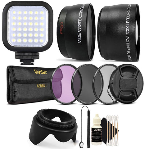 Compact LED Light with Accessories for Canon EOS Rebel T6i , T6 , T6s , T5i and T5