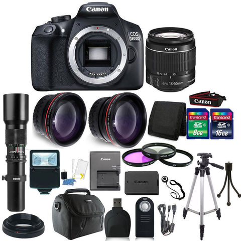 Canon EOS Rebel 1300D/T6 18MP DSLR Camera +18-55mm Lens 500 MM  Lens 24GB Bundle