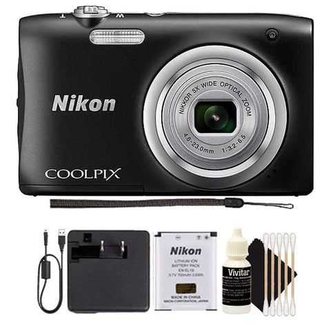 Nikon Coolpix A100 20.1MP Digital Camera 5x Optical Zoom Black with 3pc cleaning Kit
