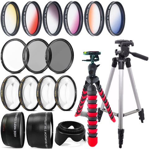 52mm Color Filter Kit , Telephoto Lens , Wide Angle Lens and Accessory Kit for Nikon D3200 and D3300