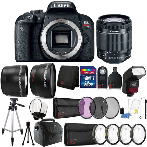 Canon EOS Rebel T7i 24.2MP DSLR Camera with 18-55mm IS STM Lens with 32GB Accessory Kit